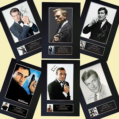 JAMES BOND 007 SPECIAL OFFER Autograph Mounted Prints All 5 Actors For only £18