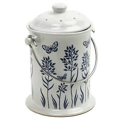 NORPRO 83 Ceramic Compost Keeper Kitchen Composter, Floral Blue White
