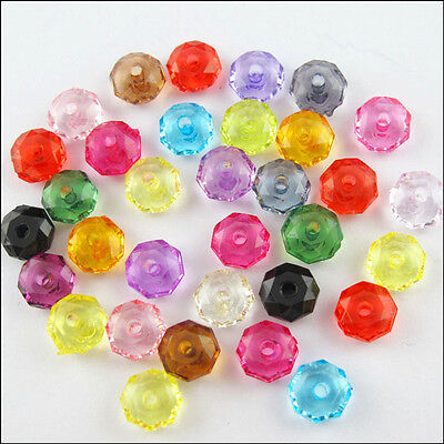 Mixed Faceted Acrylic Lucite Round DIY Rondelle Spacer Beads 6mm 8mm 10mm 12mm