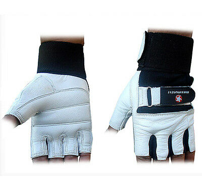 Maximuscle Heavy Duty Weight Lifting Gloves Gym Training Leather PADDED Palm