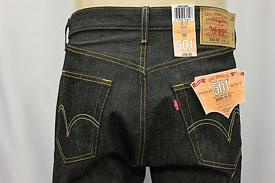 "NWT LEVI'S 501-0226 INDIGO BLACK RIGID JEANS ""SHRINK TO FIT"" LEVIS JEAN SZ:30x32"