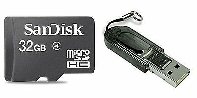 SanDisk 32GB MicroSD Micro SDHC Class 4 Memory Card with SD Adapter + USB Reader