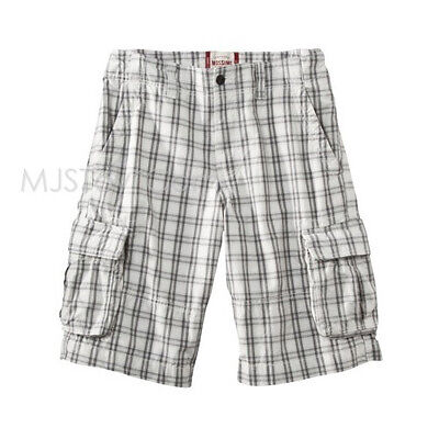 NWT Mossimo Supply Co. Stylist Men's Cargo Shorts White Gray Plaid Relaxed Fit
