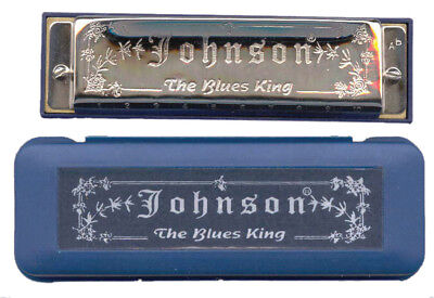 "JOHNSON - Diatonic ""Blues King"" Harmonica, Key of C *NEW* mouth organ, 10 hole"