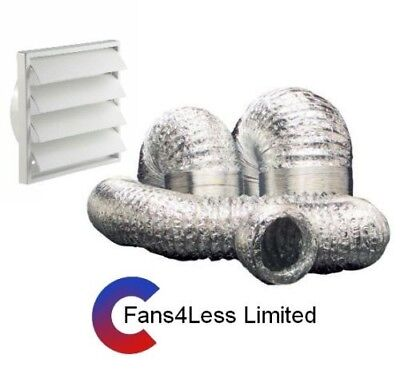 """150mm (6"""") Cooker Hood Kit, Kitchen, Ventialtion extract 5 or 10m Alu Ducting"""