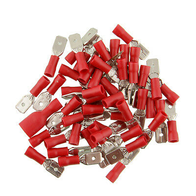 100 X 6.3Mm Red Male Spade Tab Crimps  Terminals Connector Wiring Spades Wt58