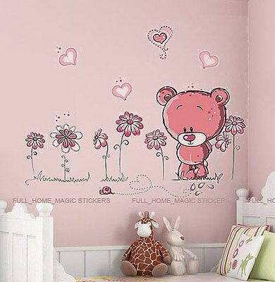 PINK TEDDY BEAR Wall Stickers Art Decal Paper Baby Child Nursery Kids Bedroom