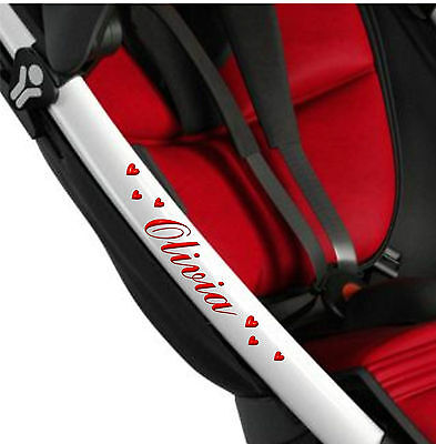 PERSONALISED PUSHCHAIR STICKERS + HEARTS Baby Pram Buggy Stroller Solo Quinny 3D