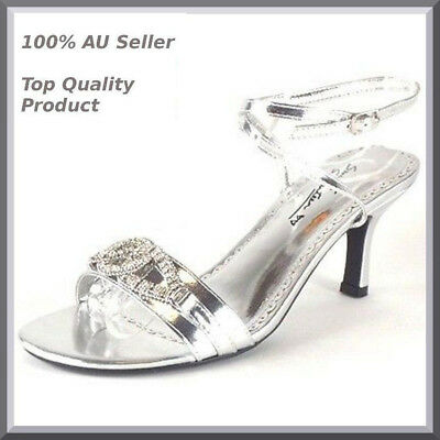 Womens New Silver low Heels Sandals Party Bridal Evening Ladies Shoes AU SZ 6-10