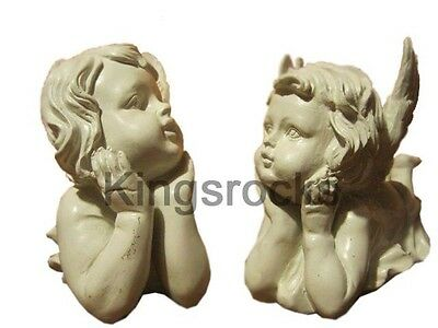 Cherub Angels Resting Statue 8cm x 22cm x 15cm 800gm/each Set of 2