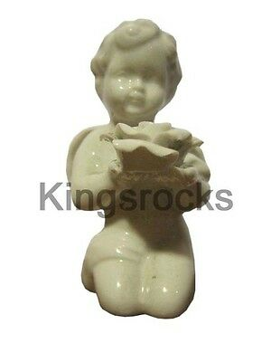 Ceramic Angels Holding Rose Statue 5cm x 4cm x 8.5cm 88gm/each Set of 2
