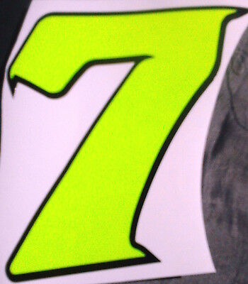 """x1 4"""" Race Number Digit (MORE in EBAY SHOP) Style 2 Number 7 Fluorescent Yellow"""