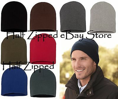 caeed0cb945 Sportsman Soft Wide Ribbed Beanie Knit Cap SP1100 Skull Hat 9 Colors  CLOSEOUT