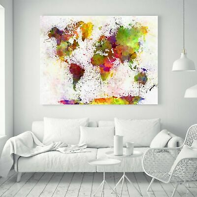 "World Map Words Style Wall Print Art Home Decor Silk Fabric Poster 24""x16"""