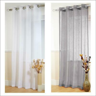 """BOSTON Plain Ring Top Eyelet Textured Voile Curtain Panel Drops 54"""" 72"""" 90"""" 108"""""""
