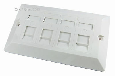 Quad 4 Port Way Gang Double Wall Face Plate Faceplate White Cat5e