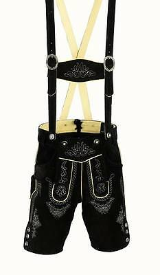 German bavarian lederhosen men suede leather black 1002