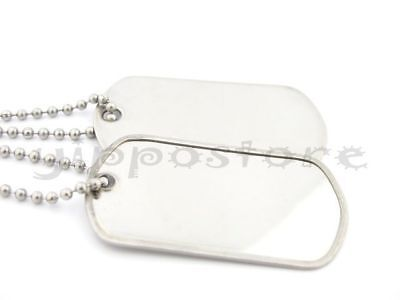 Military Spec. Army Blank Shiny Dog Tag Set w/ Stainless Steel Ball Chains