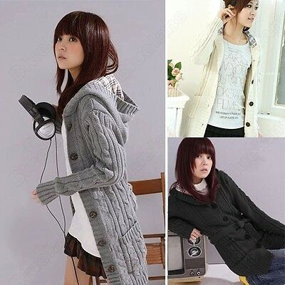 Womens Cardigan Hoodie Sweater Hooded Sweatshirt Jacket Coat Winter Outwear Tops