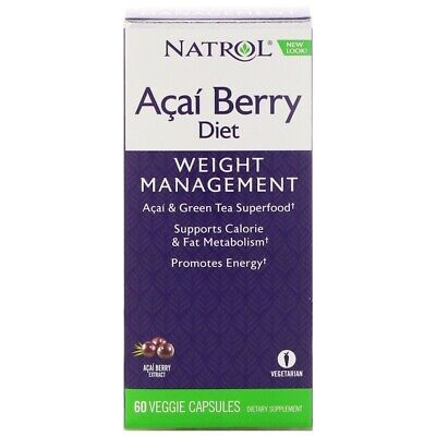 Natrol Acai Berry Diet with EGCg Green Tea Extract 60 Veg Capsules   Weight Loss