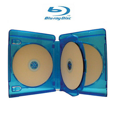 1 NEW 22mm 3 Discs Blu-Ray Case with 1 Tray for DVD CD Disc Licensed Logo
