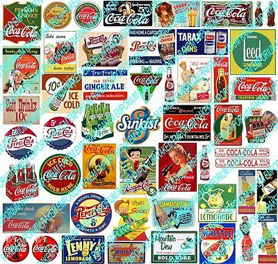 HO Scale Vintage Aussie Soft Drink Signs & Posters Model Railway Signs - HOSD1