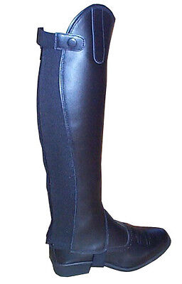 New Ladies Black Leather Horse Riding Half Chaps Gaiters 12 Sizes
