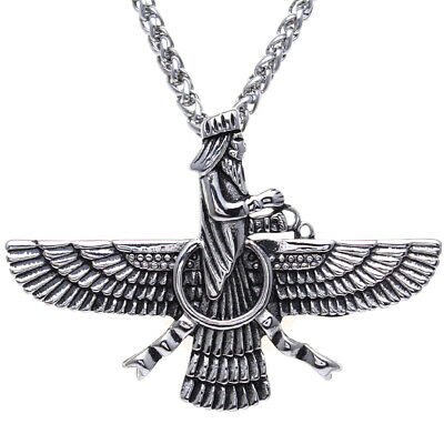 Large Engraved Gold Pt Persian Farvahar Necklace Chain Persia Farohar Art Gift
