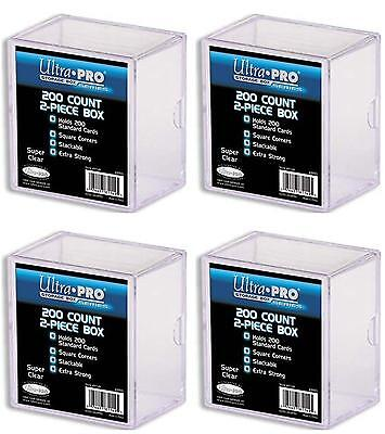 """4 x 200 ct. """"2 piece"""" Ultra Pro Plastic Card Storage Box Clear Collectible TCG"""