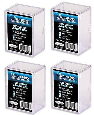 """4 x 100 ct. """"2 piece"""" Ultra Pro Plastic Card Storage Box Clear Collectible TCG"""
