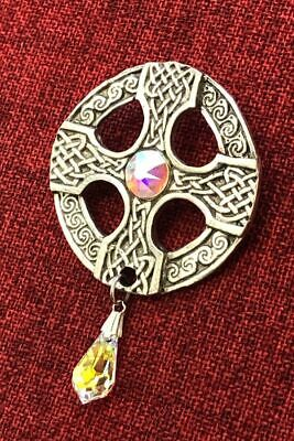 Celtic Cross Swarovski Crystal Irish  Iona Medieval Silver Pewter Brooch