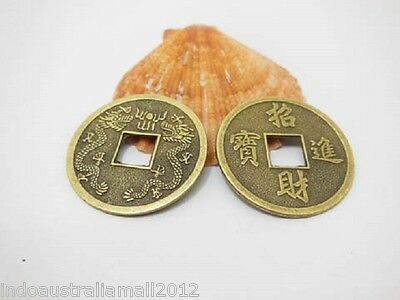 12 Pcs Bronze Metal Chinese Fengshui Auspicious I Ching Coins 32mm+Velvet Pouch