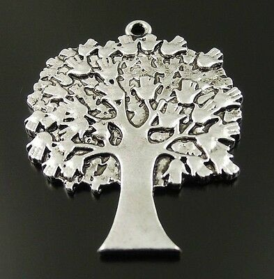 10X Vintage Style Silver Tone Tree Pendant Findings Charms 40*35*2mm