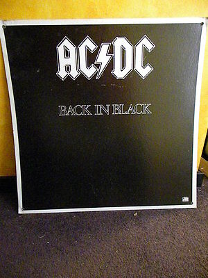 AC/DC - BACK IN BLACK ( 1980 Vintage Original Cardboard Promo Display Poster )