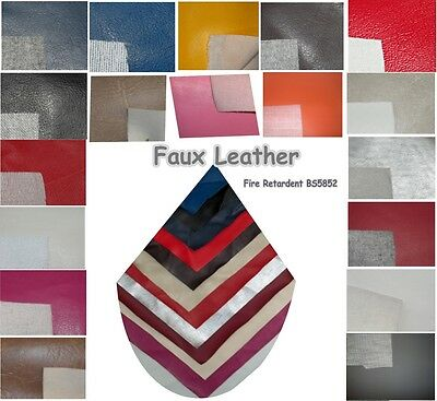 Fire Retardant  Resistant Leatherette Upholstery Fabric Faux Leather Vinyl 1 m +