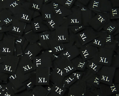 X-LARGE 50 PCS WOVEN CLOTHING LABELS SIZE TAGS WHITE XL