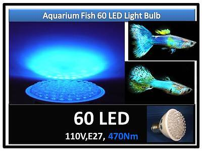 Blue Aquarium Fish Plant Grow 60 LED Light Bulb 110V E27 USA Engineer Certified