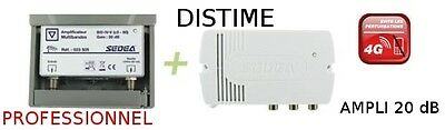 KIT AMPLIFICATEUR ANTENNE 20 dB 2 SORTIES TNT HD TV CANAUX 21 A 60 BIII + IV + V