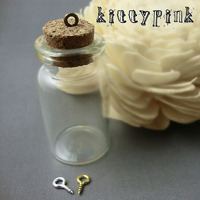 Glass Mini Cork Bottles Vials With Bronze and Silver Plated hooks Kitsch Small