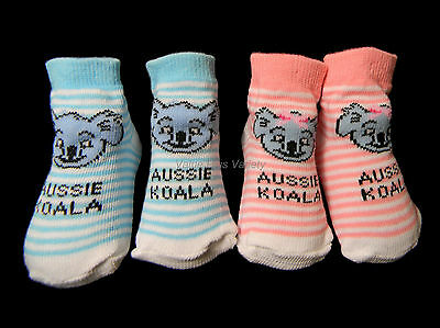 1 Pair Australian Souvenir Koala Face Baby Girl / Boy  Stripe Socks Pink or Blue