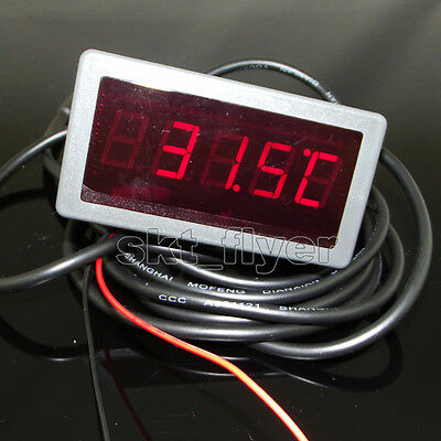 3m  F/C Digital RED LED 12V DC Car Temperature Meter Thermometer DS18B20 Sensor
