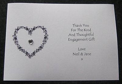 Personalised Engagement Invitations /Thank You Cards (E4)Wedding Diamante Heart