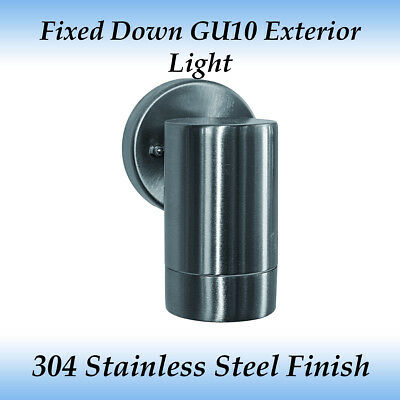 1 Light Fixed Down GU10 Exterior Wall Light in 304 Stainless Steel