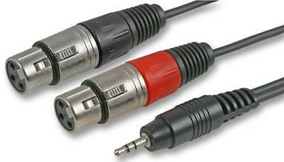 3m 3 Metre  2 Female Mono XLR sockets  to Single 3.5mm Stereo Jack Cable Lead