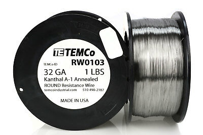 TEMCo Kanthal A1 wire 32 Gauge 1 lb (6473 ft) Resistance AWG A-1 ga