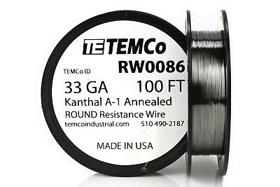 TEMCo Kanthal A1 wire 33 Gauge 100 Ft Resistance AWG A-1 ga