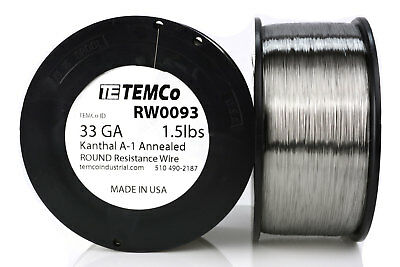 TEMCo Kanthal A1 wire 33 Gauge 1.5 lb (12325 ft) Resistance AWG A-1 ga