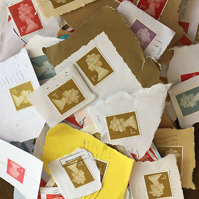 1000 Franked Used 1st Class Security GB Postage Stamps No Unfranked