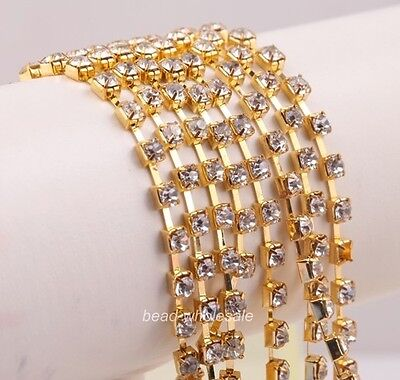 1 Meter Silver/Golden Crystal Rhinestone Decorated Close Linking Jewelry Chain