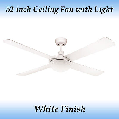 Fias Genesis 4 Blade 52 inch Ceiling Fan With Light in White Finish
